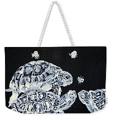 Weekender Tote Bag featuring the painting Three  Terrapins And One Fly by Fabrizio Cassetta