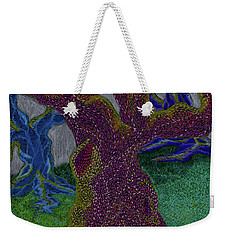 Weekender Tote Bag featuring the drawing Three Trees by Kim Sy Ok