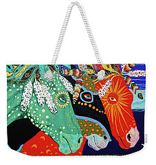 Weekender Tote Bag featuring the painting Three Visions by Debbie Chamberlin