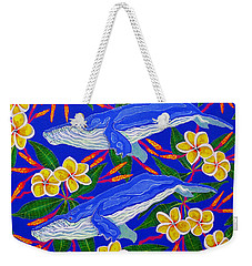 Weekender Tote Bag featuring the painting Three Whales  by Debbie Chamberlin