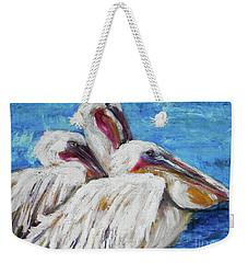 Three White Pelicans Weekender Tote Bag
