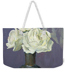 Three White Roses With Abstract Background Weekender Tote Bag
