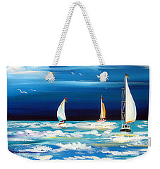 Three White Sails And A Seagull Weekender Tote Bag