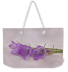 Three Wild Campanella Blossoms - Macro Weekender Tote Bag by Sandra Foster