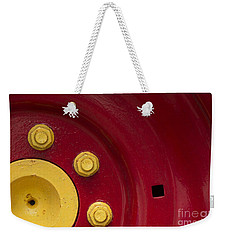 Three Yellow Nuts On A Red Wheel Weekender Tote Bag