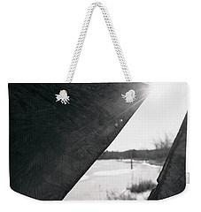 Weekender Tote Bag featuring the photograph Through A Bird Blind by Sue Collura