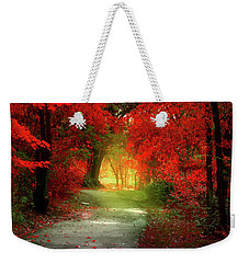 Through The Crimson Leaves To A Golden Beginning Weekender Tote Bag