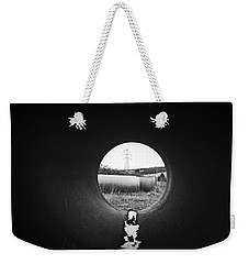 Weekender Tote Bag featuring the photograph Through The Pipe by Keith Elliott