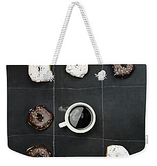 Tic Tac Toe Donuts And Coffee Weekender Tote Bag by Stephanie Frey