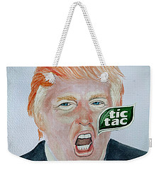 Weekender Tote Bag featuring the painting Tic Tac Trump by Edwin Alverio