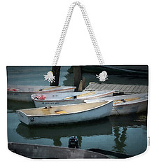 Weekender Tote Bag featuring the photograph Tied To The Pier by Guy Whiteley