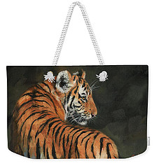 Weekender Tote Bag featuring the painting Tiger At Night by David Stribbling