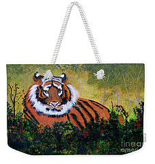 Tiger At Rest Weekender Tote Bag by Myrna Walsh