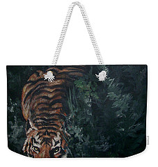 Weekender Tote Bag featuring the painting Tiger by Bryan Bustard