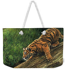 Weekender Tote Bag featuring the painting Tiger Descending Tree by David Stribbling