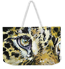 Weekender Tote Bag featuring the painting Tiger Eyes by Kovacs Anna Brigitta