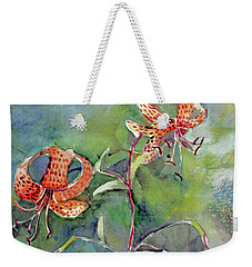 Weekender Tote Bag featuring the painting Tiger Lilies by Mindy Newman