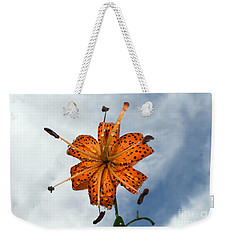Tiger Lily In A Shower Weekender Tote Bag by Kevin Fortier
