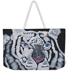 White Tiger Thoughts Weekender Tote Bag by Meryl Goudey
