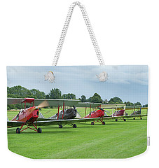Weekender Tote Bag featuring the photograph Tiger Moths Formation Shutdown by Gary Eason