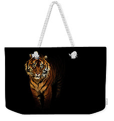 Tiger On A Black Background Weekender Tote Bag