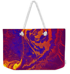 Tiger On Fire Weekender Tote Bag by Mayhem Mediums