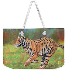 Weekender Tote Bag featuring the painting Tiger Running by David Stribbling