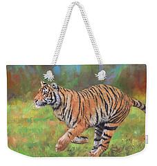 Tiger Running Weekender Tote Bag by David Stribbling