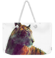 Tiger // Solace - White Background Weekender Tote Bag by Amy Hamilton