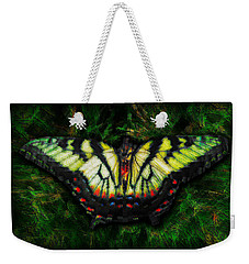 Weekender Tote Bag featuring the photograph Tiger Swallowtail by Iowan Stone-Flowers