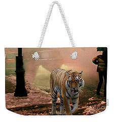 Tiger Walking Down A Snow Slushy Street Weekender Tote Bag