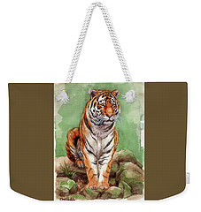 Tiger Watercolor Sketch Weekender Tote Bag by Margaret Stockdale