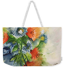 Weekender Tote Bag featuring the painting Tigerlilies And Cornflowers by Lucia Grilletto