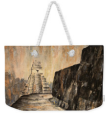 Weekender Tote Bag featuring the painting Tikal Ruins- Guatemala by Ryan Fox
