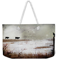 Weekender Tote Bag featuring the photograph 'til The Cows Come Home by Theresa Tahara