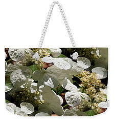 Weekender Tote Bag featuring the photograph Tiled White Lace Cap Hydrangeas by Smilin Eyes  Treasures
