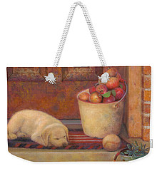 Weekender Tote Bag featuring the painting Till The Kids Come Home by Nancy Lee Moran