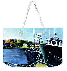 Weekender Tote Bag featuring the painting Timba At Monkey Bay by Dora Hathazi Mendes