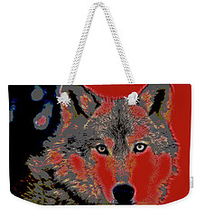 Weekender Tote Bag featuring the mixed media Timber Wolf by Charles Shoup