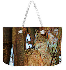 Timber Wolf Colorful Art Weekender Tote Bag by Eleanor Abramson