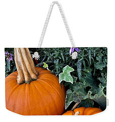 Time For Pumpkins In The Flower Beds Weekender Tote Bag by Patricia E Sundik