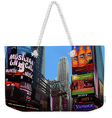 Weekender Tote Bag featuring the photograph Times Square 2 by Walter Fahmy
