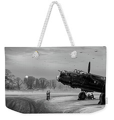 Weekender Tote Bag featuring the photograph Time To Go - Lancasters On Dispersal Bw Version by Gary Eason