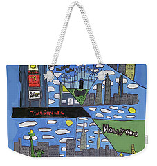 Weekender Tote Bag featuring the painting Times Square by Artists With Autism Inc