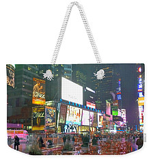 Times Square Red Rain Weekender Tote Bag by Jeffrey Friedkin