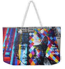 Times They Are A Changing Giant Bob Dylan Mural Minneapolis Getting Older Weekender Tote Bag