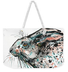 Weekender Tote Bag featuring the painting Timid Hare by Zaira Dzhaubaeva