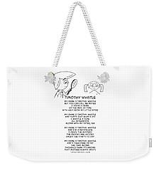 Weekender Tote Bag featuring the drawing Timothy Whistle by John Haldane
