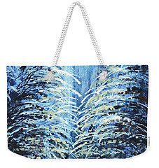 Weekender Tote Bag featuring the painting Tim's Winter Forest by Holly Carmichael