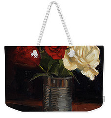 Weekender Tote Bag featuring the painting Tin Can Love by Billie Colson